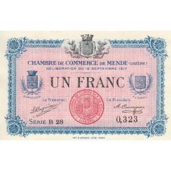 Mende (Lozère) - Pirot 81-3 - 1 franc - Série B 28 - 12/09/1917 - Etat : NEUF