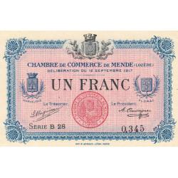 Mende (Lozère) - Pirot 81-3 - 1 franc - Série B 28 - 12/09/1917 - Etat : SPL