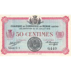 Mende (Lozère) - Pirot 81-5 - 50 centimes - Série C 1 - 30/07/1918 - Etat : SUP