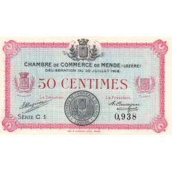 Mende (Lozère) - Pirot 81-5 - 50 centimes - Série C 1 - 30/07/1918 - Etat : NEUF