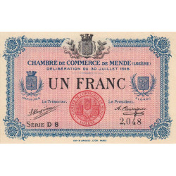 Mende (Lozère) - Pirot 81-7 - 1 franc - 1918 - Etat : SUP+