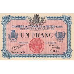 Mende (Lozère) - Pirot 81-7 - 1 franc - Série D 8 - 30/07/1918 - Etat : SUP+