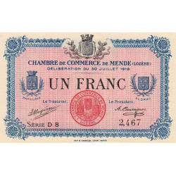 Mende (Lozère) - Pirot 81-7 - 1 franc - Etat : SPL