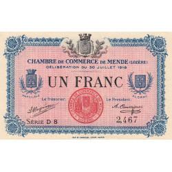 Mende (Lozère) - Pirot 81-7 - 1 franc - Série D 8 - 30/07/1918 - Etat : SPL
