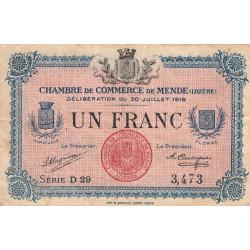 Mende (Lozère) - Pirot 81-7 - 1 franc - Série D 29 - 30/07/1918 - Etat : TB