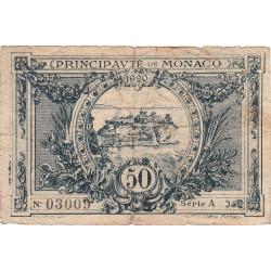 Monaco - Pirot 136-3 - 50 centimes - Série A -16/03/1920 -  Etat : B-