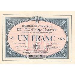 Mont-de-Marsan - Pirot 82-7 - 1 franc - Série AA - 1914 - Etat : SUP