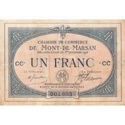 Mont-de-Marsan - Pirot 82-7 - 1 franc - Série CC - 1914 - Etat : TB-