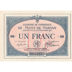 Mont-de-Marsan - Pirot 82-8 - 1 franc - Série AAA - 01/12/1914 - Etat : SPL