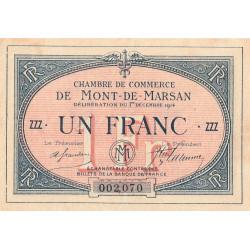 Mont-de-Marsan - Pirot 82-8 - 1 franc - Série ZZZ - 1914 - Etat : TTB-