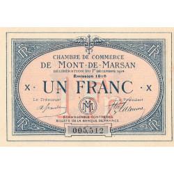 Mont-de-Marsan - Pirot 82-15 - 1 franc - Série X - 1916 - Etat : SUP