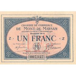 Mont-de-Marsan - Pirot 82-15 - Série Z - 1 franc - 1916 - Etat : SUP+