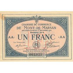 Mont-de-Marsan - Pirot 82-16 variété- 1 franc - Série AA - 1916 - Etat : SUP