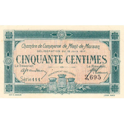 Mont-de-Marsan - Pirot 82-18 - 50 centimes - Série 111 - 12/06/1917 - Etat : SPL