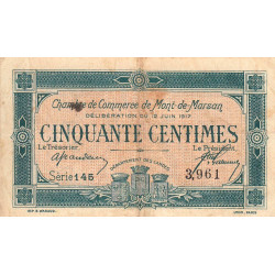 Mont-de-Marsan - Pirot 82-18 - 50 centimes - Série 145 - 1917 - Etat : TB