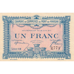 Mont-de-Marsan - Pirot 82-21 - 1 franc - Série 12 - 12/06/1917 - Etat : NEUF