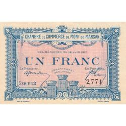 Mont-de-Marsan - Pirot 82-21 - 1 franc - Série 12 - 1917 - Etat : NEUF