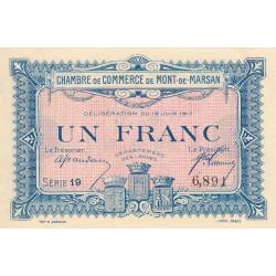 Mont-de-Marsan - Pirot 82-21 - Série 19 - 1 franc - 1917 - Etat : SUP+