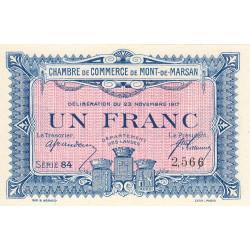 Mont-de-Marsan - Pirot 82-28 - 1 franc - Série 84 - 1917 - Etat : SPL