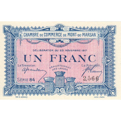 Mont-de-Marsan - Pirot 82-28 - Série 84 - 1 franc - 1917 - Etat : SPL