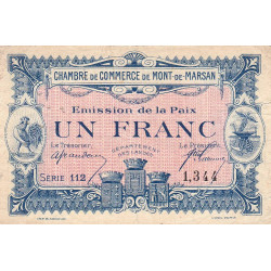 Mont-de-Marsan - Pirot 82-32 - Série 112 - 1 franc - 1918 - Etat : TB+