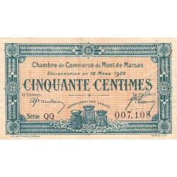 Mont-de-Marsan - Pirot 82-38 - Série QQ - 50 centimes - 1922 - Etat : TB+