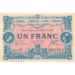 Mont-de-Marsan - Pirot 82-41 - 1 franc - Série TT - 16/03/1922 - Etat : SUP+
