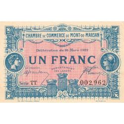 Mont-de-Marsan - Pirot 82-41 - 1 franc - Série TT - 1922 - Etat : SUP+