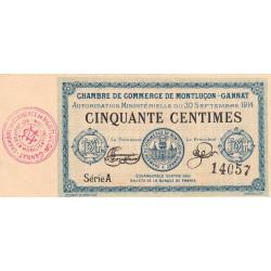 Montluçon-Gannat - Pirot 84-1 - 50 centimes - Série A - 1914 - Etat : SUP+