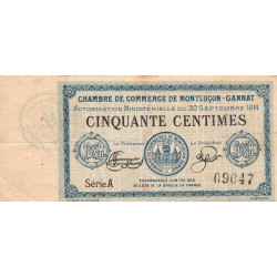 Montluçon-Gannat - Pirot 84-4 - Série A - 50 centimes - 1914 - Etat : TB