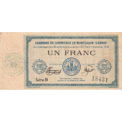 Montluçon-Gannat - Pirot 84-5 - 1 franc - Série B - 1914 - Etat : TB