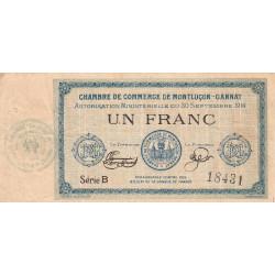 Montluçon-Gannat - Pirot 84-5 - Série B - 1 franc - 1914 - Etat : TB