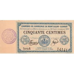 Montluçon-Gannat - Pirot 84-7 - 50 centimes - Série A - 1914 - Etat : SPL à NEUF