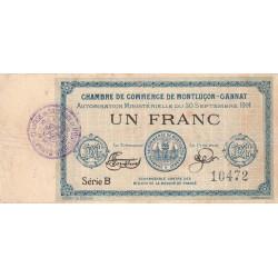 Montluçon-Gannat - Pirot 84-8 - 1 franc - Série B - 1914 - Etat : TB-