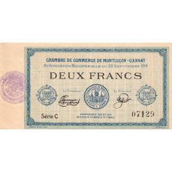 Montluçon-Gannat - Pirot 84-9 - 2 francs - Série C - 1914 - Etat : TTB+ à SUP