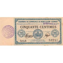 Montluçon-Gannat - Pirot 84-10 - Série A - 50 centimes - 1914 - Etat : SUP