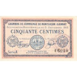 Montluçon-Gannat - Pirot 84-13 - Série A - 50 centimes - 1915 - Etat : SPL+