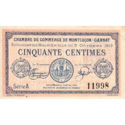 Montluçon-Gannat - Pirot 84-13 - 50 centimes - Série A - 1915 - Etat : SUP