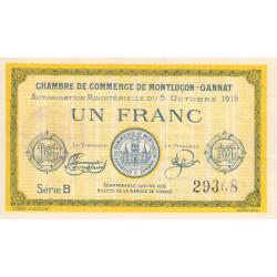 Montluçon-Gannat - Pirot 84-15b - 1 franc - Série B - 1915 - Etat : TTB+