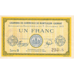 Montluçon-Gannat - Pirot 84-15b - Série B - 1 franc - 1915 - Etat : TTB+