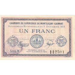 Montluçon-Gannat - Pirot non répertorié - 1 franc - Série B - 1915 - Etat : SUP