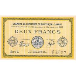 Montluçon-Gannat - Pirot 84-18a - 2 francs - Série C - 1915 - Etat : TTB+