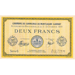 Montluçon-Gannat - Pirot 84-18a - Série C - 2 francs - 1915 - Etat : TTB+