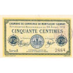 Montluçon-Gannat - Pirot 84-21 - 50 centimes - Série A - 1916 - Etat : NEUF