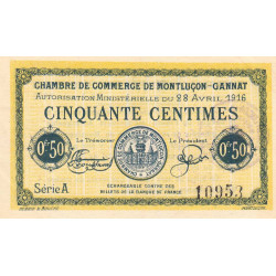 Montluçon-Gannat - Pirot 84-21 - 50 centimes - Série A - 1916 - Etat : SUP+