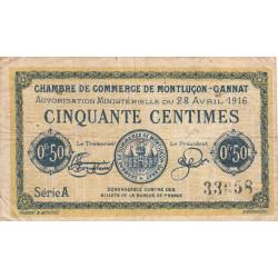 Montluçon-Gannat - Pirot 84-21 - Série A - 50 centimes - 1916 - Etat : TB-