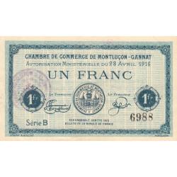 Montluçon-Gannat - Pirot 84-23 - Série B - 1 franc - 1916 - Etat : SUP