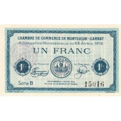 Montluçon-Gannat - Pirot 84-23 - 1 franc - Série B - 1916 - Etat : SUP+ à SPL