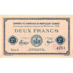 Montluçon-Gannat - Pirot 84-26a - 2 francs - Série C - 1916 - Etat : SUP