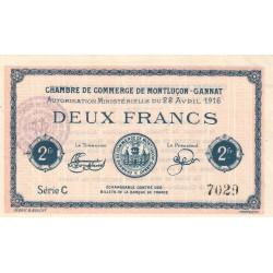 Montluçon-Gannat - Pirot 84-26b - 2 francs - Série C - 1916 - Etat : SUP+ à SPL